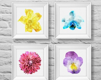 Floral Bouquet #5 (set of four) unframed square art prints, nature, floral, watercolor, photography, wall decor. (R&RBOUQUET5)