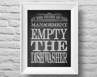 EMPTY THE DISHWASHER unframed art print Typographic poster, inspirational print, self esteem, kitchen wall decor, quote art. (R&R0091)