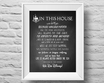 IN THIS HOUSE...Disney inspired unframed art print Typographic poster, inspirational print, wall decor, quote art. (R&R0107)