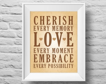 CHERISH EVERY MEMORY unframed art print Typographic poster, inspirational print, self esteem, love, wall decor, quote art. (R&R0117)
