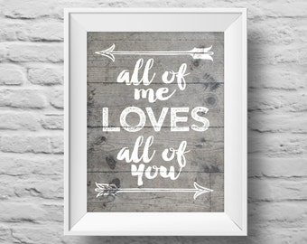 ALL OF ME Loves All of You unframed art print Typographic poster, inspirational print, self esteem, wall decor, quote art. (R&R0121)