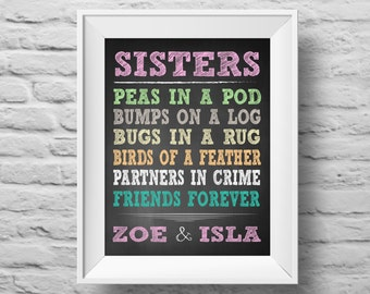 SISTERS unframed Typographic poster, inspirational print, self esteem, wall decor, quote art. (R&R0085c)