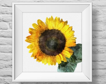 SUNFLOWER IN YELLOW square unframed art print, inspirational, nature, floral, watercolor, photography, wall decor. (R&R0104)