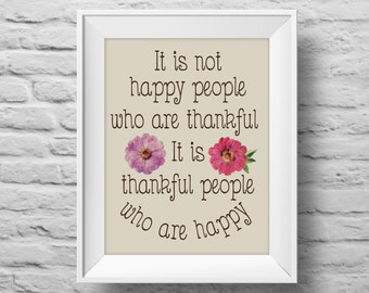 Thankful People Are Happy unframed art print Typographic poster, inspirational print, custom wall decor, quote art. (R&R0046)