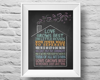 LOVE GROWS BEST In Little Houses unframed art print Typographic poster, inspirational print, family, custom wall decor, quote art. (R&R0044)