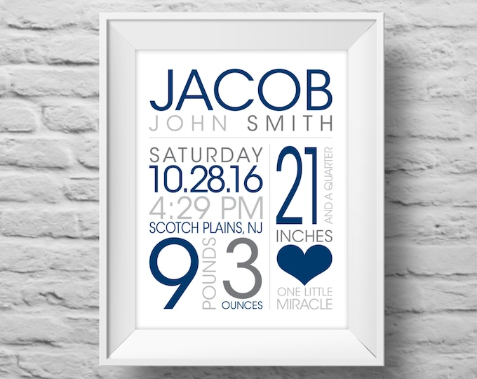 BABY BOY STATS One Little Miracle unframed Typographic poster, inspirational, baby nursery wall decor, art print. (R&R0156b)