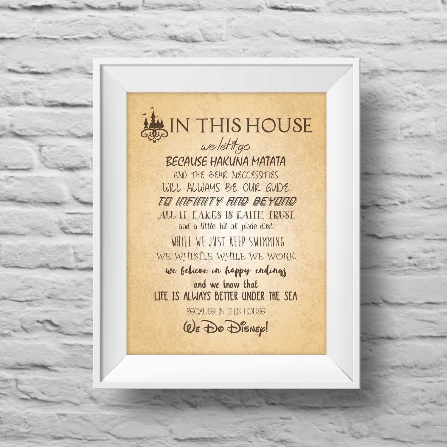 IN THIS HOUSE...Disney inspired unframed art print Typographic ...