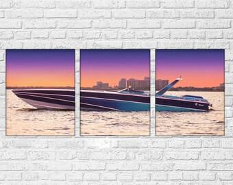 Miami Vice Scarab Speed Boat 3 Piece Canvas Set