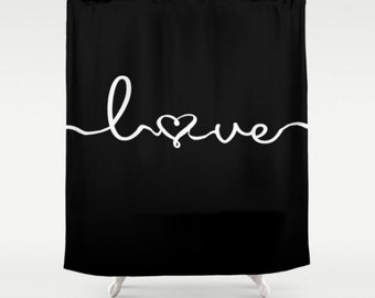 Shower Curtain Black Love Quote Words Saying Heart Design Home Bath Room Decor