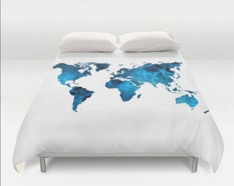 Map bedspread etsy duvet cover world map blue white twin twin xl full queen king bedspread hipster bedding dorm room home apartment bed decor gumiabroncs Image collections