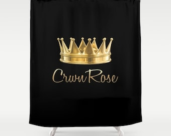 Customized Shower Curtain Personalized Shower Curtain Black Gold Crown  Curtain Name Quote Saying Extra Long Curtain Custom Size Curtain