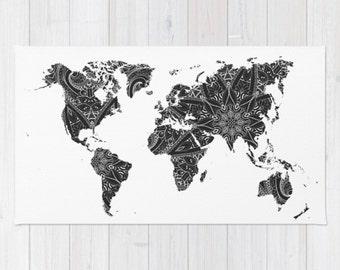 World map rug etsy area floor rug world map black white mandala throw woven rectangle home dorm apartment decor gumiabroncs Images