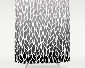Leaf Design Black White Grey Shower Curtain Gray Ombre Pattern Home Bath Room Unique Decor Add A Matching Mat