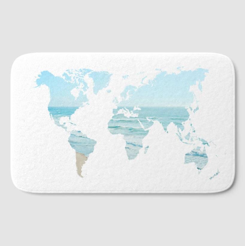 Ocean House Rug: World Map Beach House Decor Bath Mat Ocean Blue White Bath