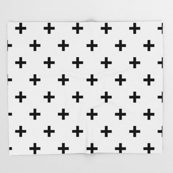 Suiza Cruz blanco negro tiro manta patrón bebé guardería niños | Etsy