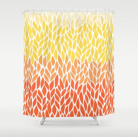 Orange Yellow Ombre Leaf Shower Curtain Leaf Design Pale