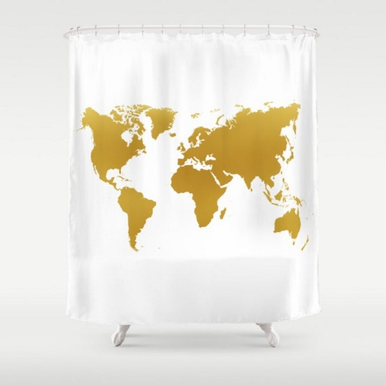 Gold World Map Shower Curtain White Background Apartment Home Etsy
