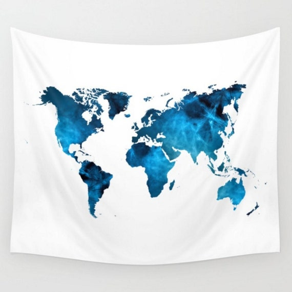 Wall hanging world map tapestry map tapestry blue and white etsy image 0 gumiabroncs Images