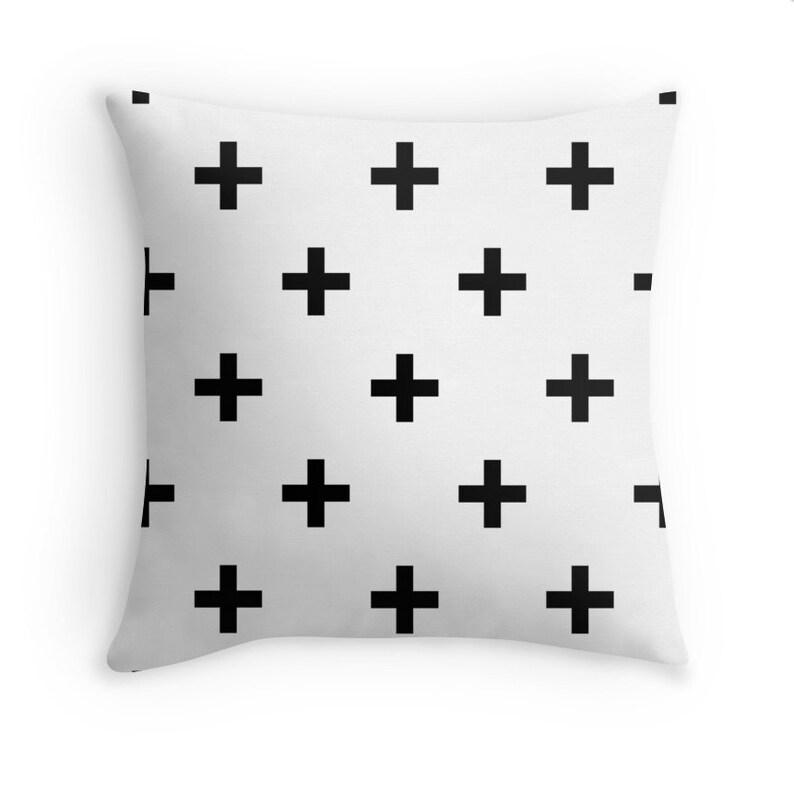 Swiss Cross Throw Blanket Black White Pattern Small Cross Design Baby Nursery Kids Small Queen King Size Soft Fleece