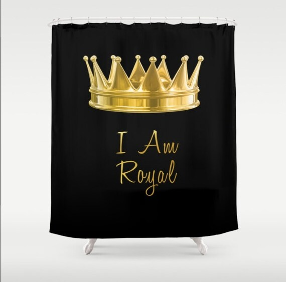 Customized Shower Curtain Gold Crown I Am Royal Black