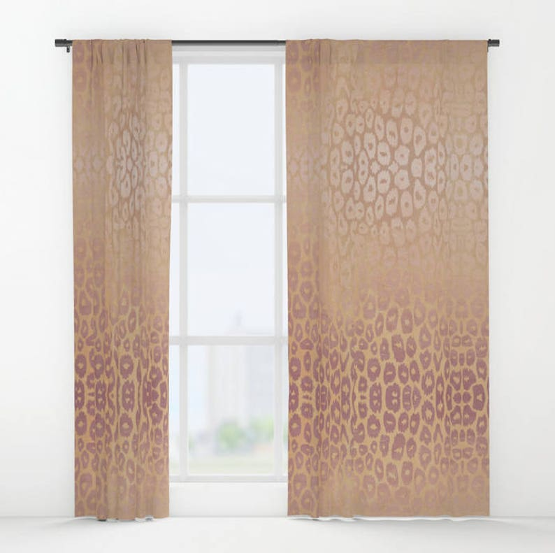 Sale Window Curtains Rose Gold Leopard Pink Brown Tones Animal Etsy