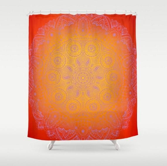 Shower Curtain Zen Orange Purple Mandala Long