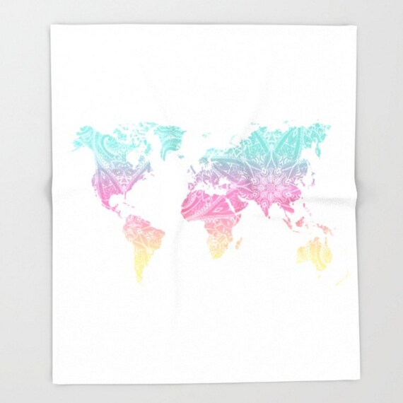 World Map Throw Blanket Mandala Pastel Design Pattern Baby Etsy