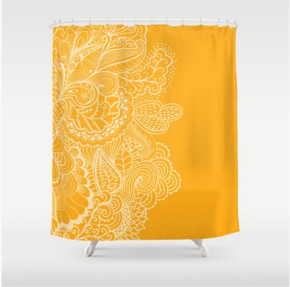 Shower Curtain Marigold Yellow Orange Mehndi India Indian