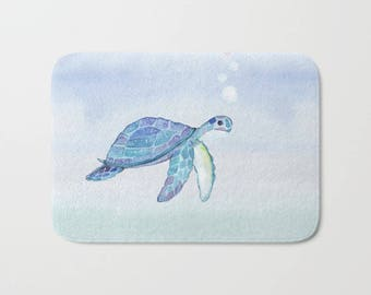 Turtle Under the Sea Bath Mat Ocean Pastel Blue Green Pink Swimming Bubbles Bath Rug beach Cabin Home Decor