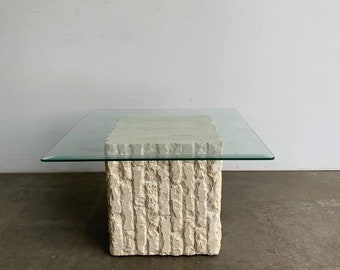 Stone And Glass Coffee Table Etsy