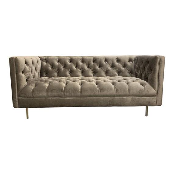 Awe Inspiring 1980S Vintage Art Deco Style Tufted Sofa Creativecarmelina Interior Chair Design Creativecarmelinacom