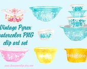 Vintage Pyrex bowl watercolor PNG clip art set of 7 files, butterprint, butterfly gold, friendship, gooseberry, baking clipart