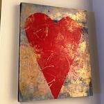 Mixed Media Original Wall Art Abstract Heart Acrylics and Inks on Canvas Big Heart Large Heart