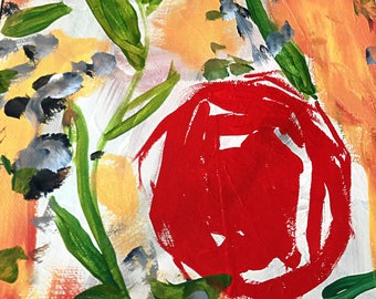 """Mixed Media Original Art """"Walk Street"""" Published Abstract Floral and Vines Acrylics and Inks Canvas Wall Art"""
