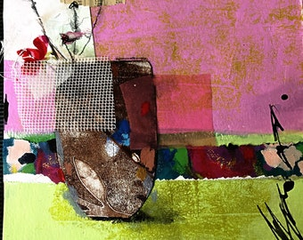 Original Art Mixed Media Collage on Watercolor Paper Abstract Floral Still-life