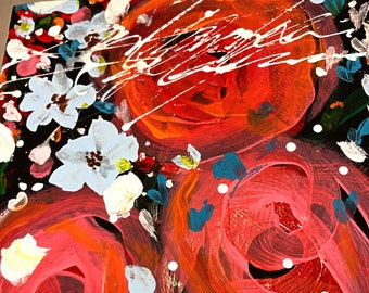 """Mixed Media Original Published Art Abstract Acrylics and Inks Collage Wall Art Red Roses Floral Flowers, """"She Loves Her Flowers"""""""