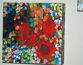 Mixed Media Painting, Original Art, Wall Art, Abstract Art, Flower Art, Flowers Art Wood Canvas