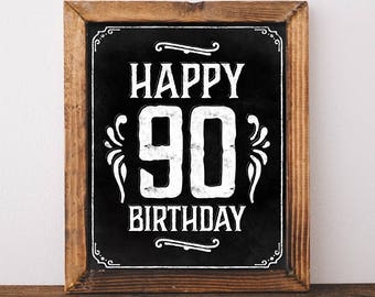 Happy 90th Birthday Sign Printable File Rustic Decorations Party Supplies DIY Digital Download