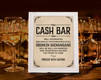 Rustic wedding decor etsy wedding cash bar sign rustic wedding decor wedding reception kraft paper printable wedding bar decorations 16x20 8x10 5x7 prints junglespirit
