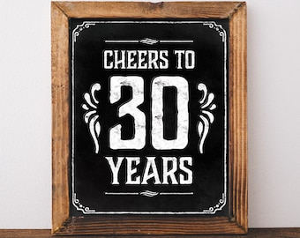 30th Birthday Decoration Printable Decor For Him Cheers To 30 Years Sign Centerpiece