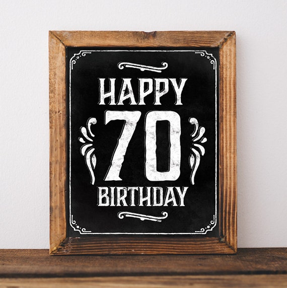 70th Birthday Decorations Printable Happy Sign