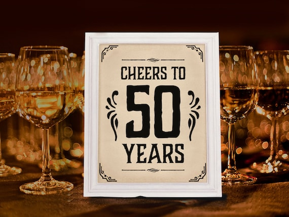 Cheers To 50 Years Sign Printable 50th Birthday Decor