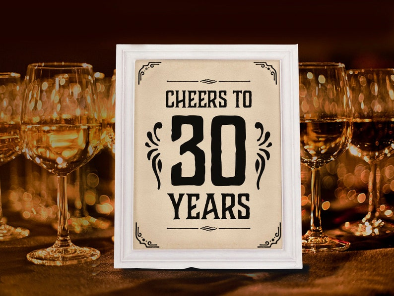 Cheers To 30 Years Sign Printable 30th Birthday Decor