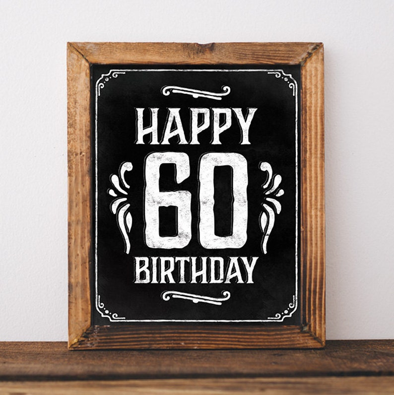 Birthday Sign Printable 60th Party Decorations
