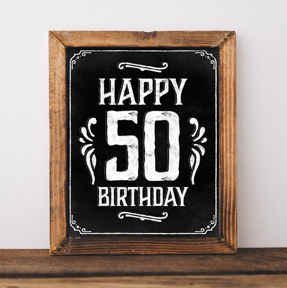 Birthday Sign Printable 50th Party Decorations