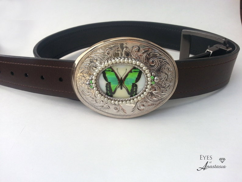 9417042413 Butterfly belt buckle Green buckle Cowgirl bling Free shipping One of a  kind Eyes of Anastasia gift for her green butterfly