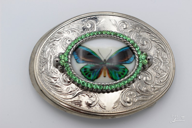 Butterfly belt buckle green rhinestone belt buckle with butterfly blue and green gift for her birthday large oval belt buckle