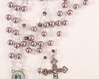Mauve Swarovski Rosary