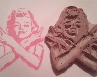 Rockin' Marilyn Hand Carved Rubber Stamp