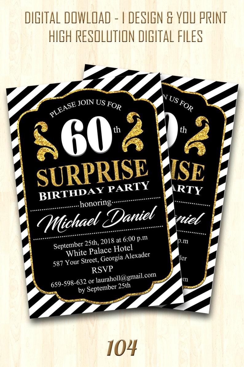 60th Birthday Invitation Invitations For Women Invites Surprise 104